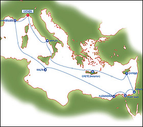 Eastern Mediterranean Highlights cruise route map
