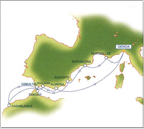Iberian Coasts cruise route map