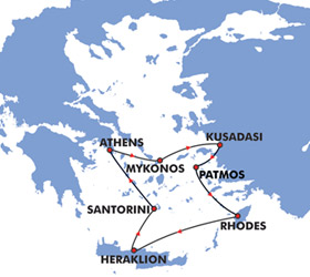Iconic Aegean (4 Day) cruise route map