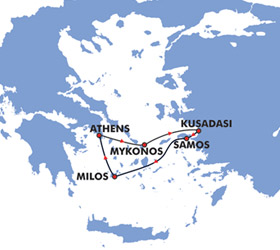 Idyllic Aegean (3 Day) cruise route map