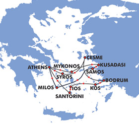 Idyllic Aegean (7 Day) cruise route map