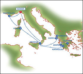 Italy - Greece cruise route map