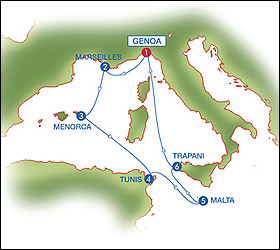 Med Highlights cruise route map