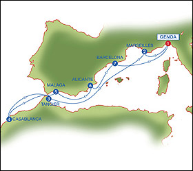 New Year's cruise route map