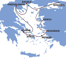 Pilgrimage Voyages cruise route map
