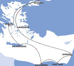 Greece & Turkey cruise route map