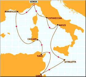 Tunis Malta Italy Cruise Route Map